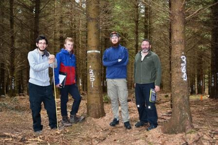 The TranSSFor project team for summer 2019. Left to right, Mallaury Vagelli (timber engineering, University of Lorraine), Fraser Wight (environmental and forest management, University of Aberdeen), Ted Smith (forestry, UCD) and Ted Wilson (Walsh Fellow, silviculture, Teagasc/UCD).